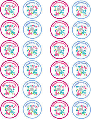 Personalised Roller Disco Skates Edible Cupcake Wafer Paper Toppers x 24