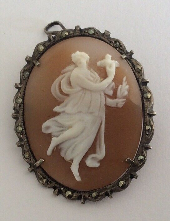 Vintage Antique 800 Silver Carved Shell Cameo Classical Lady Angel Bird Brooch