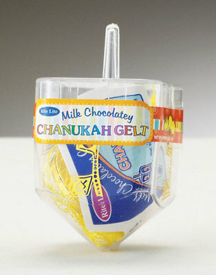Plastic Dreidel - Plastic Dreidel Filled with Chanukah Chocolate Gelt Coins - Hanukkah Kosher Gift