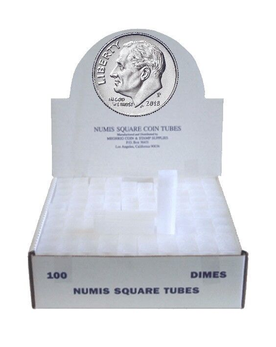 100 Numis Square Coin Tubes For US Dimes Stackable Safe Storage Durable New Box