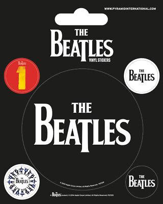 The Beatles (Black) Set Of 5 Vinyl Stickers Decals Official Licensed Merchandise
