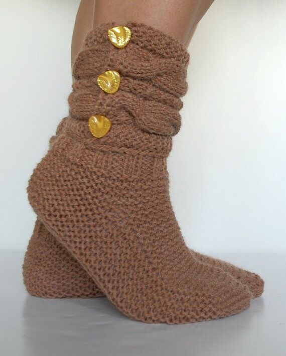 Hand knitted women boots-socks.. Soft and comfy. Great for Home.