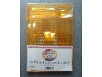 Cutlery - NEW 16 piece yellow plastic cutlery with tray - £2