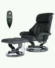 Black Leather Recliner Chair with Massage Heating Function and Footstool - NEW