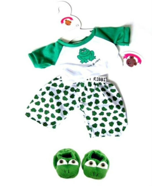 Teddy Bear Clothes fits Build a Bear Teddies Frog PJ's & Slippers Bears Clothing