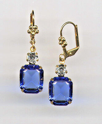 GORGEOUS Earrings with Swarovski SAPPHIRE BLUE emerald-cut crystals 14K Gold gp