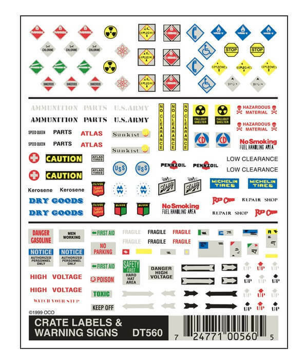 Woodland Scenics Crate Labels & Warning Signs Dry Transfer Decals DT560