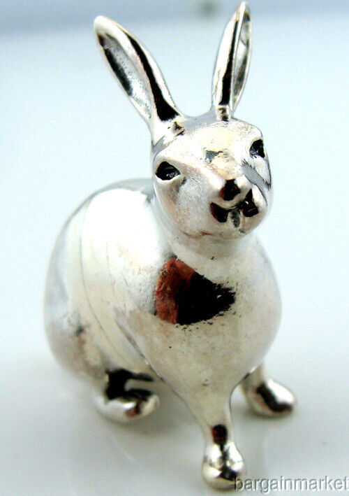Miniature Sterling Silver Bunny Rabbit Hare Figurine #43