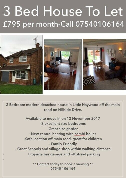 3 Bed Detached House to Let - Little Haywood