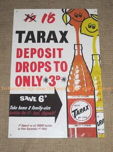 TARAX bottles TIN SIGN vintage Melbourne soft drink Australian NEW Retro metal
