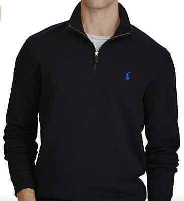 NWT Polo Ralph Lauren French Rib Half-Zip Cotton Pullover Sweater Black S, -