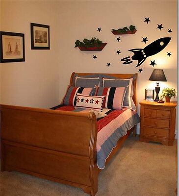 Sophisticated Home Decor Ideas Rocket Ship   Vinyl Wall Decal  Wedding Home Decorations