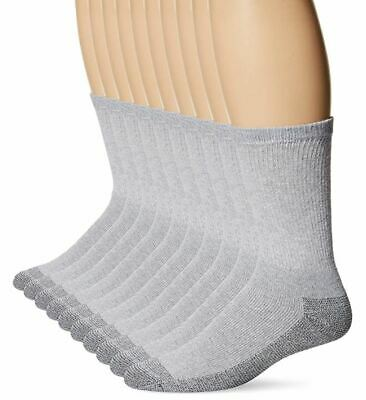 Fruit of the Loom Men's Cotton Work Gear Crew Socks GREY 10 pair