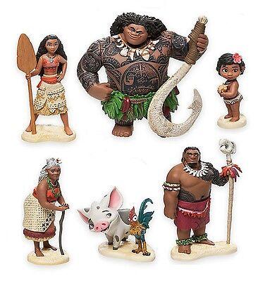 Moana Maui Hei Hei Playset 6 Figure Cake Topper  Fast Shipping  Toy Doll Set