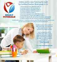 Online Tutoring for math by Certified Teacher (from grade 9-12)