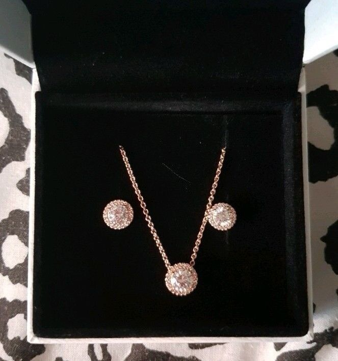 Pandora Genuine Rose Gold Necklace And Earring Set