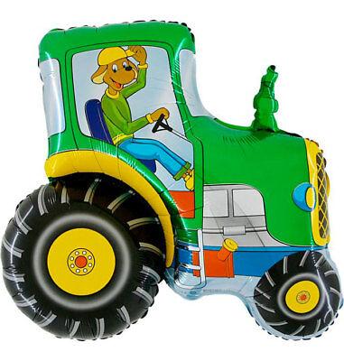 Traktor mit Hund grün ca. 80 cm Luftballons Folienballon Geburtstag deco xxl ()