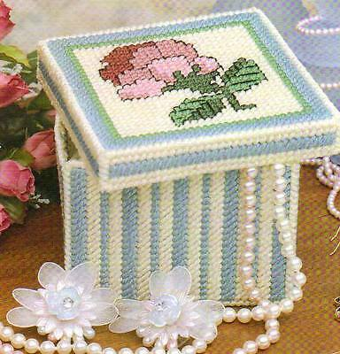 FLORAL TRINKET BOX PLASTIC CANVAS PATTERN INSTRUCTIONS