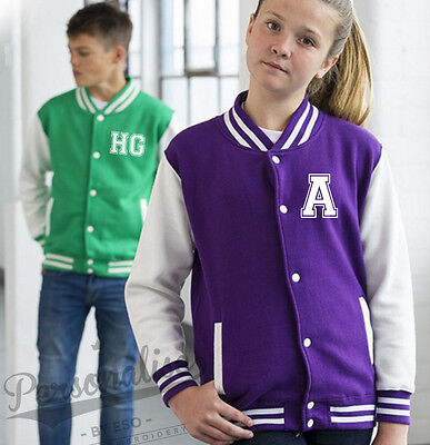 Personalised KIDS VARSITY JACKET - Childrens College Style Your Slogan Name Text - Kids Varsity