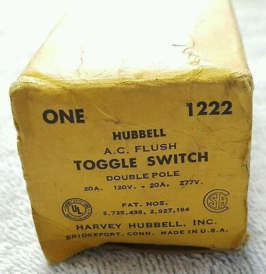 Vintage Hubbell Ac Double Pole Toggle Light Switch 1222 Nos