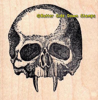 Vampire Skull Hallween Horror Monster Mounted Rubber Stamp
