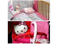 Hello Kitty cot/cotbed set with matching brand new light fitting & playmat *immaculate*