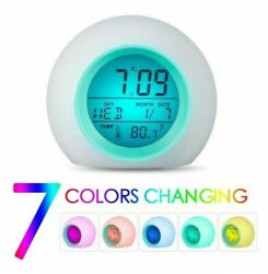 7 Color LED Change Digital Glowing Alarm Clock Night Light Sounds Fun Gift Idea!