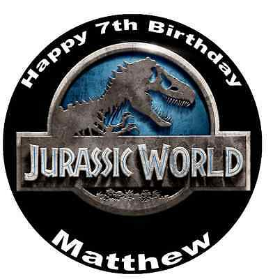 """Jurassic World Personalised Wafer Paper Topper For Large Cake Various Sizes 7.5"""""""