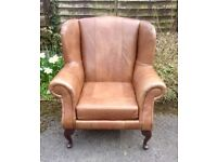 Vintage Style Wing Back Tan Leather Armchair