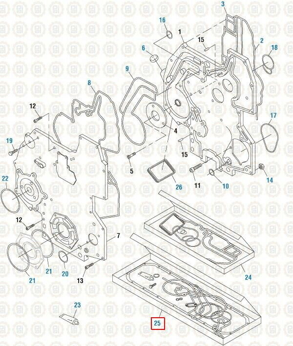 Front Cover Gasket Kit for a International DT466E. PAI
