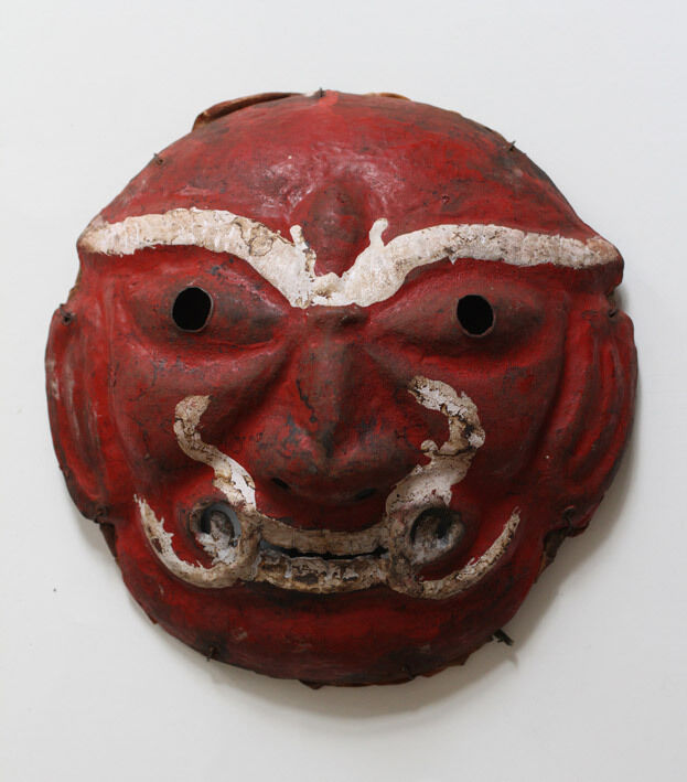 Superb rare antique NEPAL painted iron mask*demon