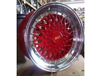 """15"""" BBS RS STYLE RED MACHINED LIP STAGGERED ALLOY WHEELS"""