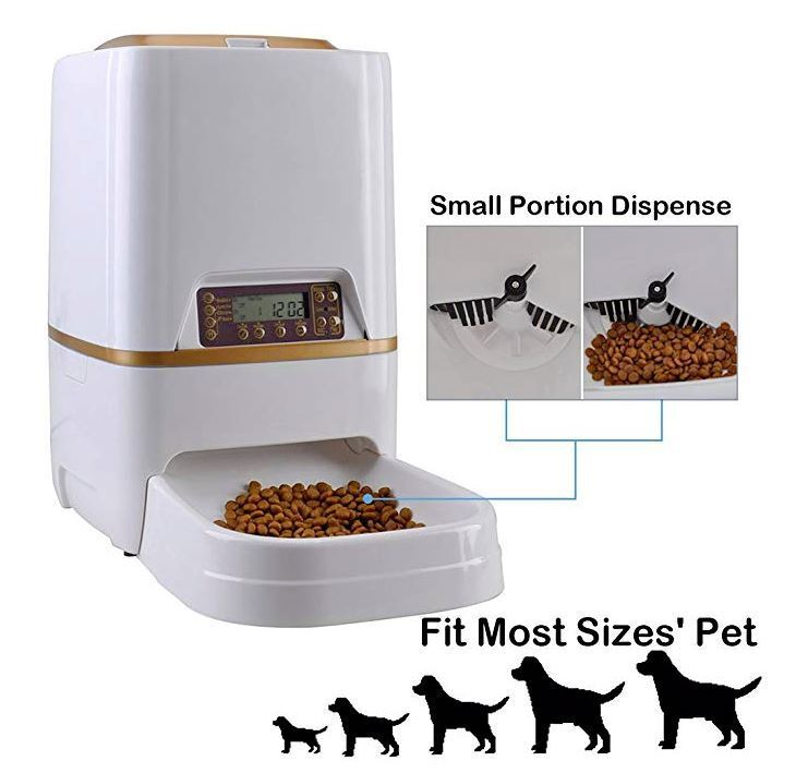 Automatic Pets Feeder Bowl Food Dispenser for Cat Dog with Voice Recorder Timer.