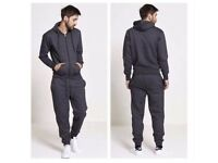 Plain Casual Charcoal Grey Jogging Tracksuit