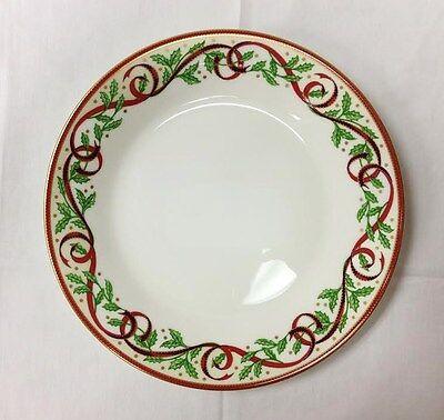 """PICKARD """"HOLLY"""" CHRISTMAS SALAD PLATE 8 1/4"""" GOLD WHITE PORCELAIN NEW U.S.A."""