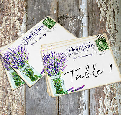 DOUBLE or SINGLE SIDE LAVENDER MASON JAR POSTCARD WEDDING TABLE CARD - SIGN #180 (Single Mason Jars)