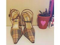 Vintage Burberry ankle strap heels