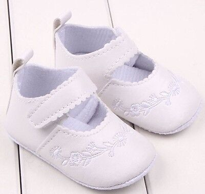 Newborn 0-3 M Infants Baby Girl Soft White Leather Crib Shoes Prewalker NWT