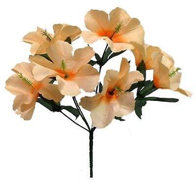 Silk Hibiscus Flowers (5 Hibiscus PEACH Wedding Centerpieces Flowers Silk Bridal Bouquet Home)