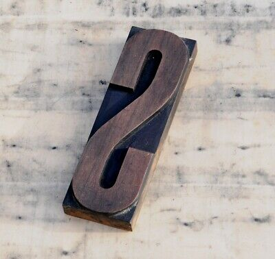 Huge Letter S Rare Wood Type Letterpress Printing Block Woodtype Font Antique