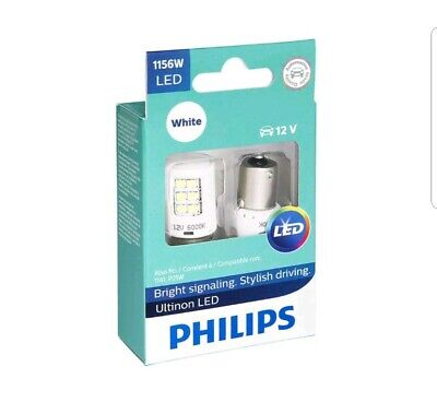 2x PHILIPS ULTINON 1156 WHITE 1156ULWX2 INTERIOR SIGNALING STOP TAIL BACKUP LED