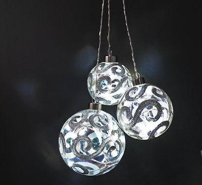 Konstsmide LED Glaskugeln silberne Ornamente 3er Set Ø 8/10/12cm 20 LEDs  Glaskugel Ornament
