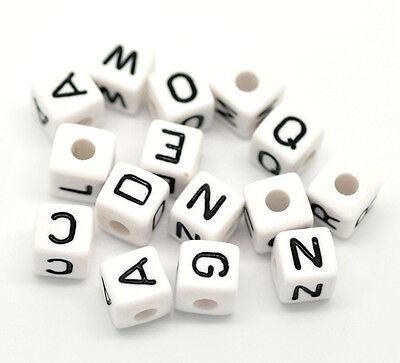 Perlen Acryl Buchstaben Schwarz Weiß zum Basteln 10x10mm (Würfel Zum Verkauf)