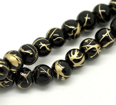 100 x Black Mottled / Drawbench Glass Beads Craft Jewellery - 6mm - B18251