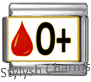 BLOOD-GROUP-TYPE-O-Enamel-Italian-Charm-9mm-Link-1x-MA016-Single-Bracelet-Link