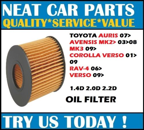 OIL FILTER FOR TOYOTA AURIS 07> AVENSIS 03>08 09> COROLLA VERSO 01>09 RAV-4  06>