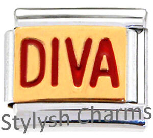 DIVA-PRINCESS-SPOILED-Enamel-Italian-Charm-9mm-1-x-NC210-Single-Bracelet-Link