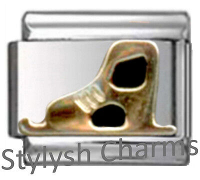 Ice Skating Italian Charm (SKATER ICE SKATING BOOT Enamel Italian 9mm Charm SP064 Fits Nomination Classic )
