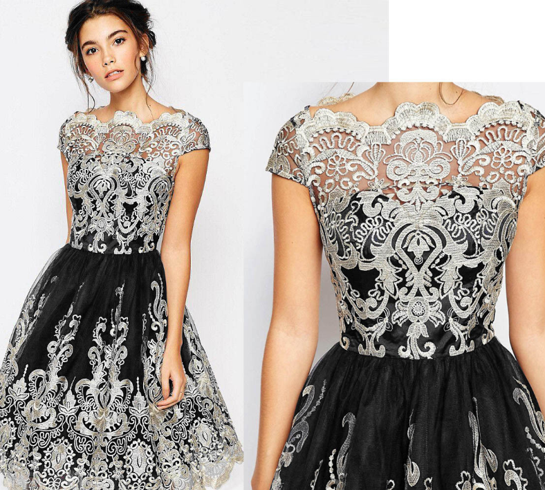 Details About New Women Short Prom Dresses Lace Floral Sleeve Evening Formal Cocktail Party