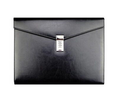 Leather Document File Bag Business Executive Papers Organizer With Lock Case New